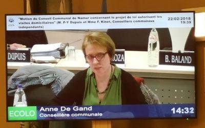 Motion du Conseil communal de Namur concernant le projet de loi autorisant les visites domiciliaires